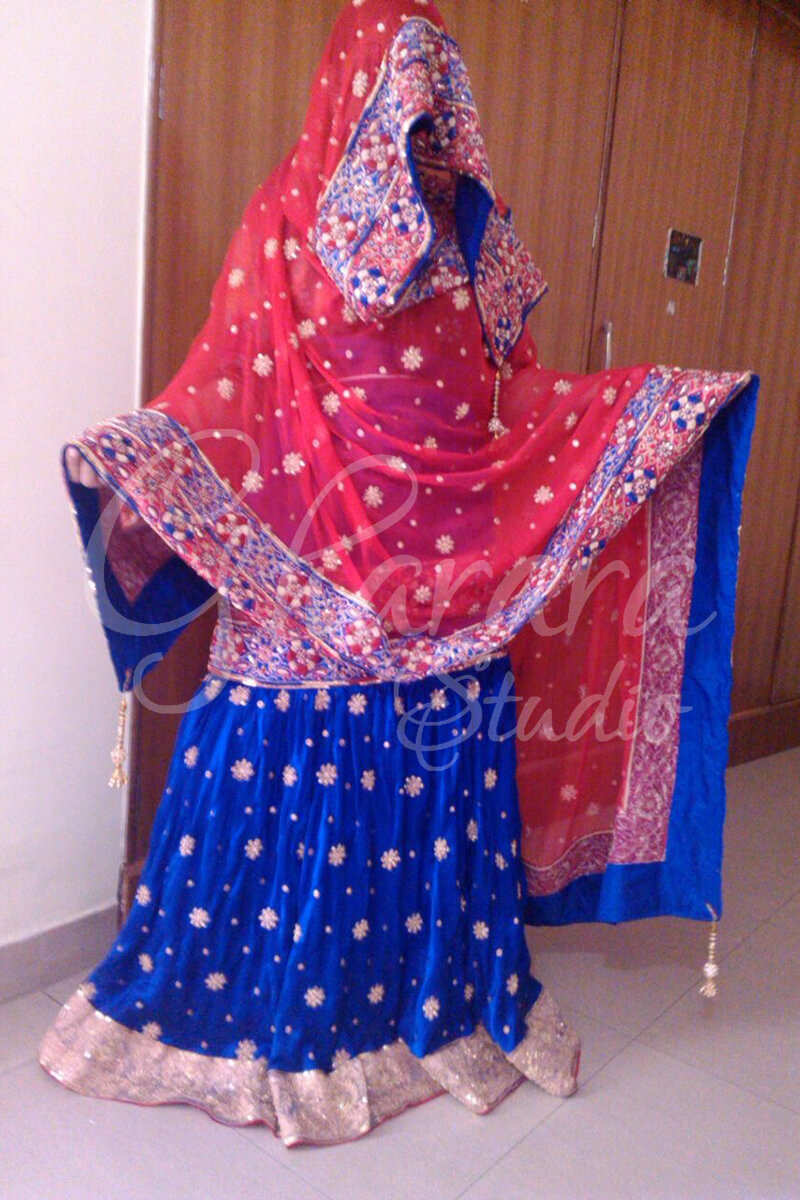 Royal Blue Satin Silk Gharara