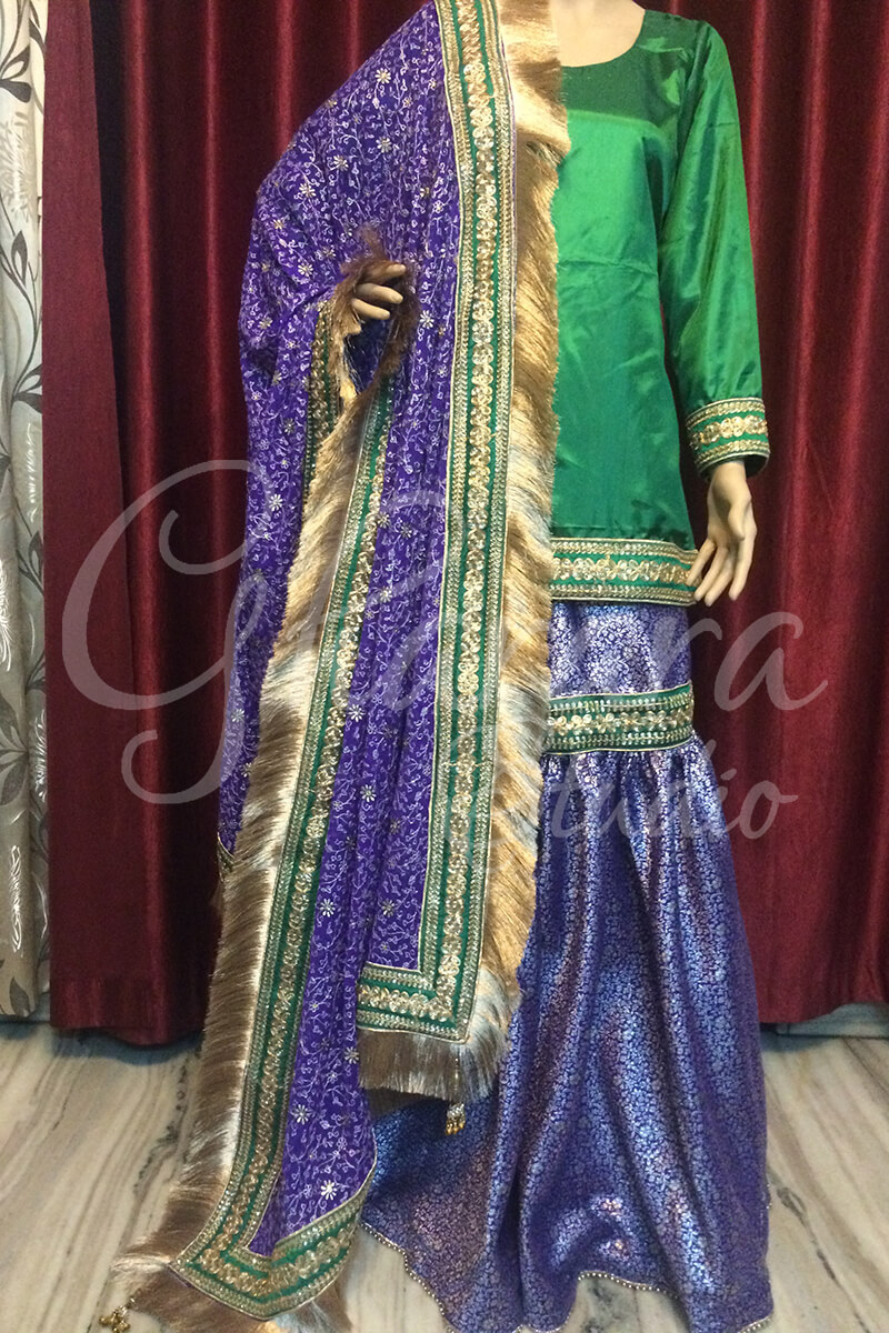Blue & Green Gharara