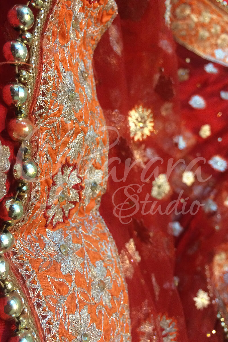 Red & Orange Silk Gharara