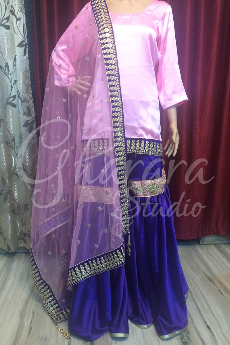 Purple Satin Gharara