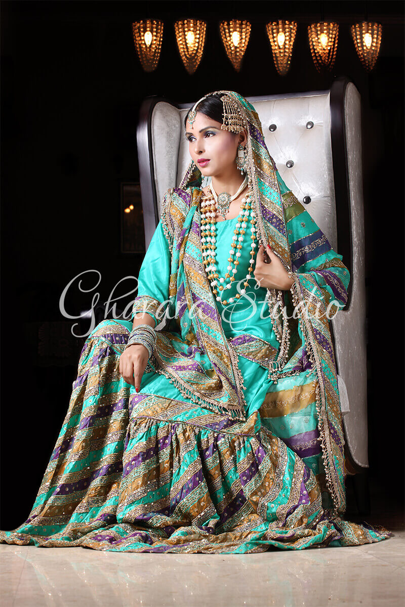 SEA GREEN CHATAPATI GHARARA