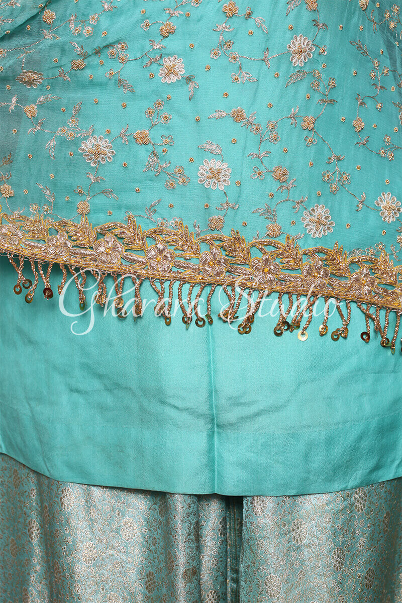 SEA GREEN GHARARA