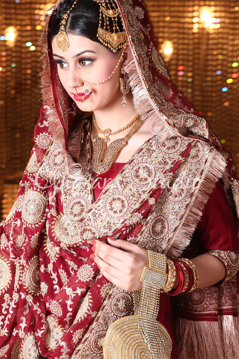 GOLDEN AND MAROON GHARARA