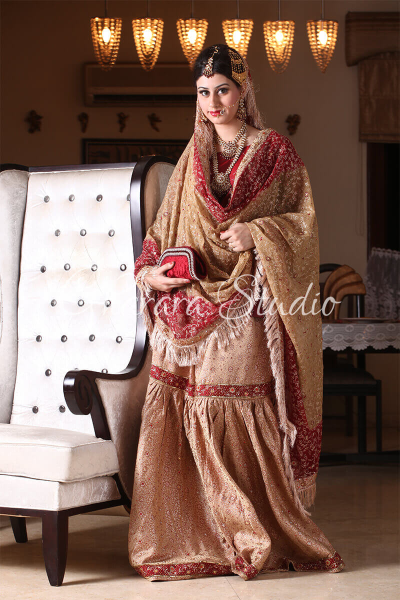MAROON AND GOLDEN GHARARA