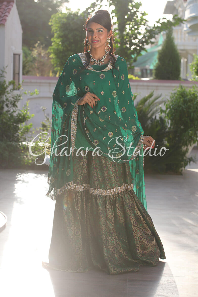 DARK GREEN GHARARA