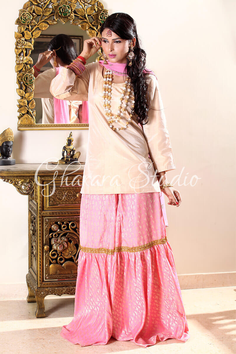 GOLDEN AND BABY PINK GHARARA