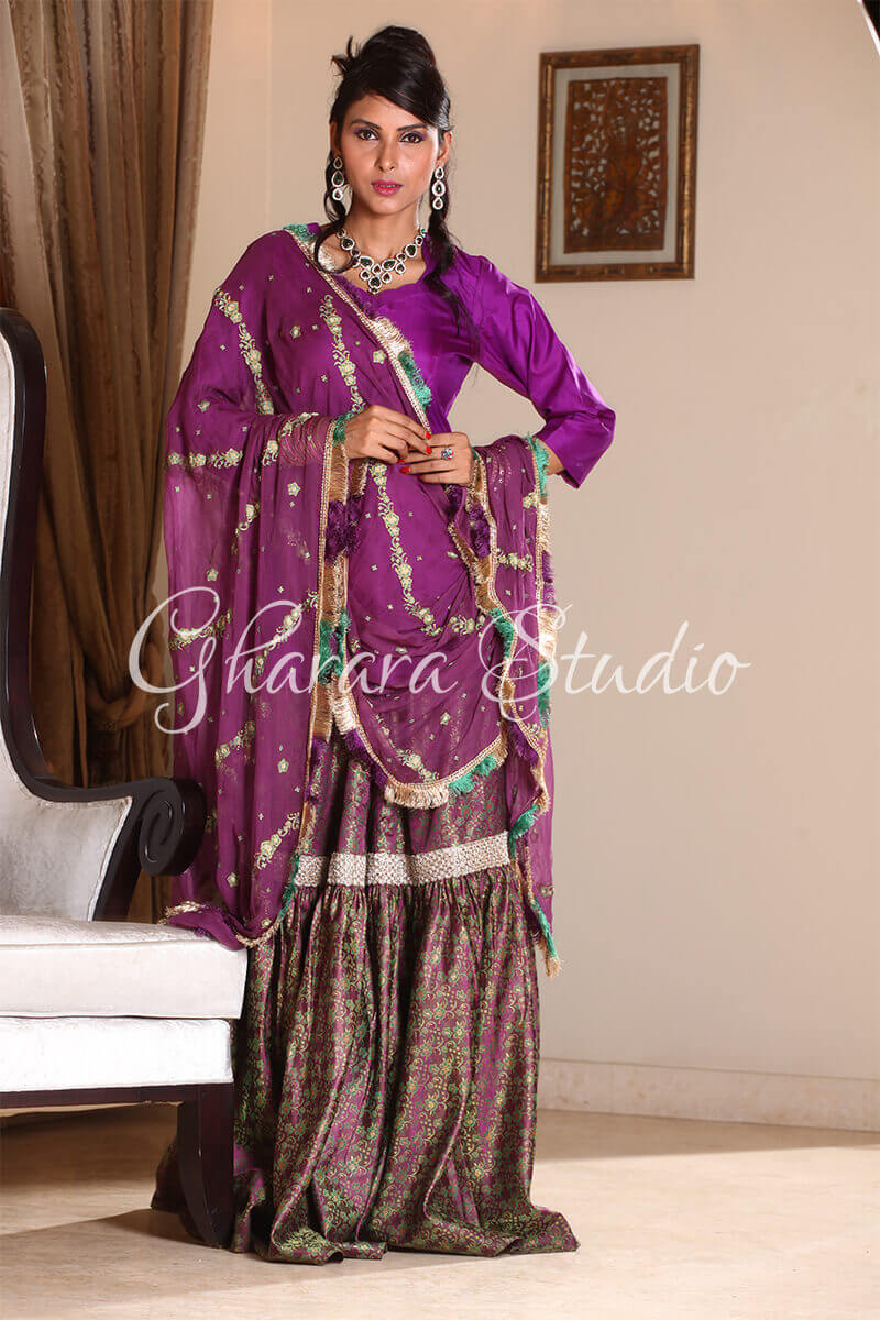 BRIGHT PURPLE AND GREEN GHARARA