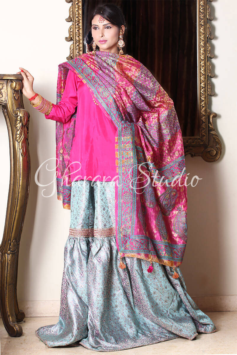 SILVER AND DARK PINK GHARARA