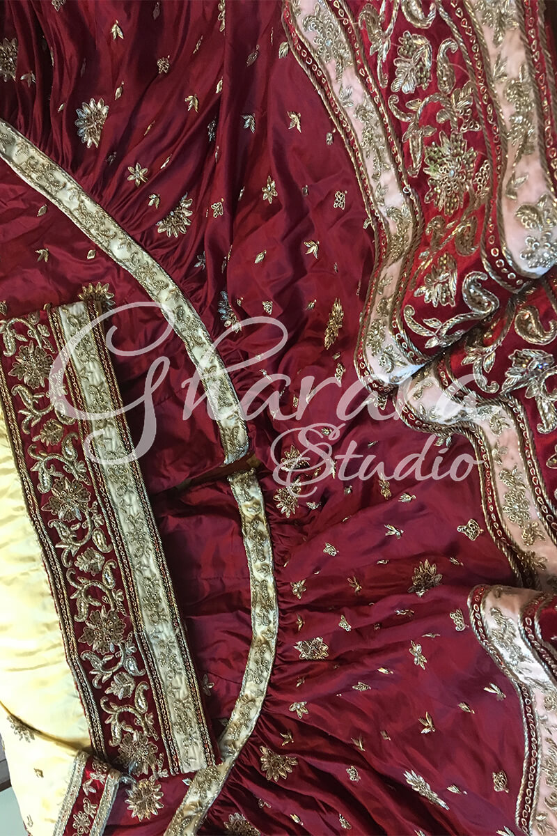 Maroon & Golden Silk Gharara