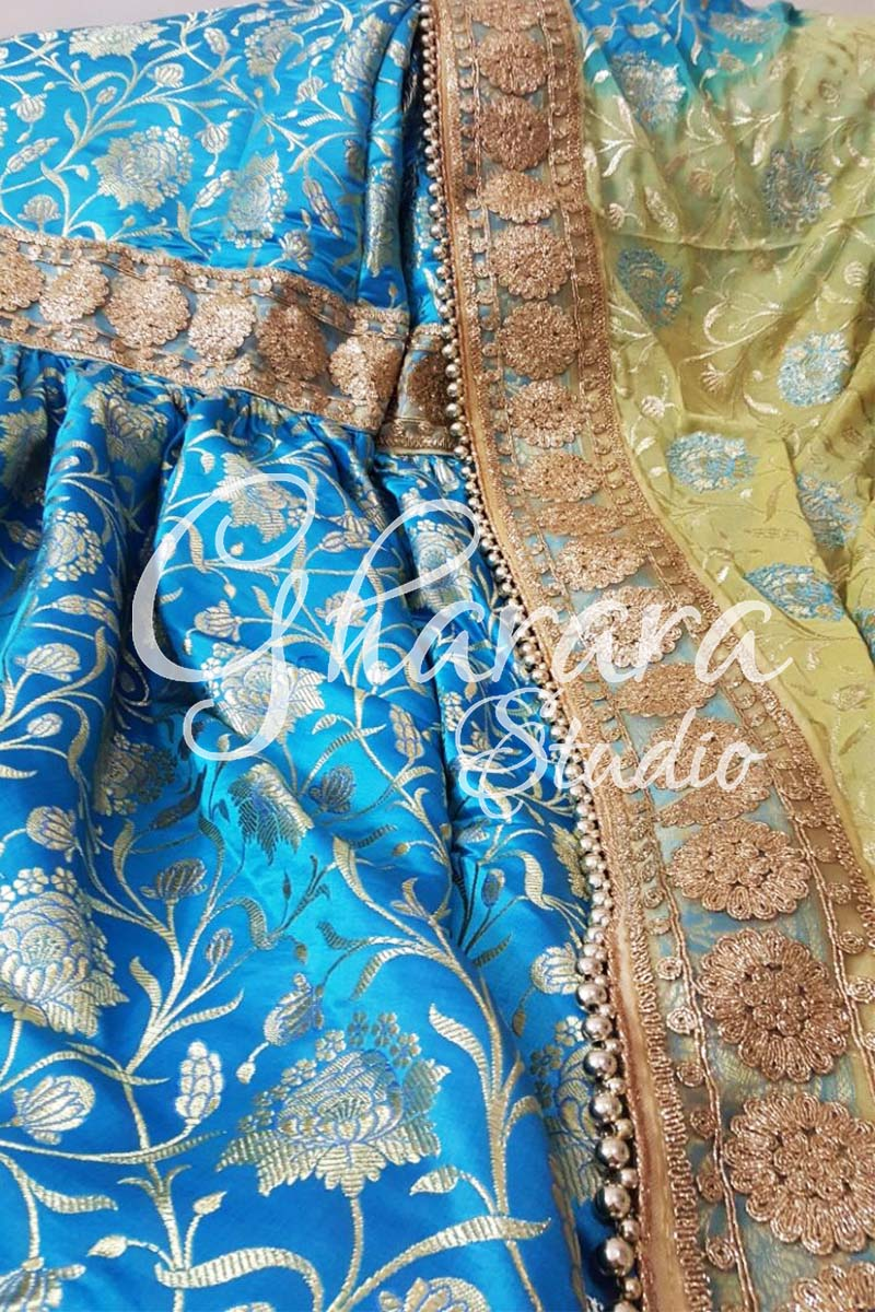Blue Golden Kamkhwab Gharara