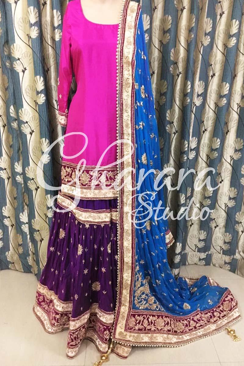 Purple Firozi Silk Gharara