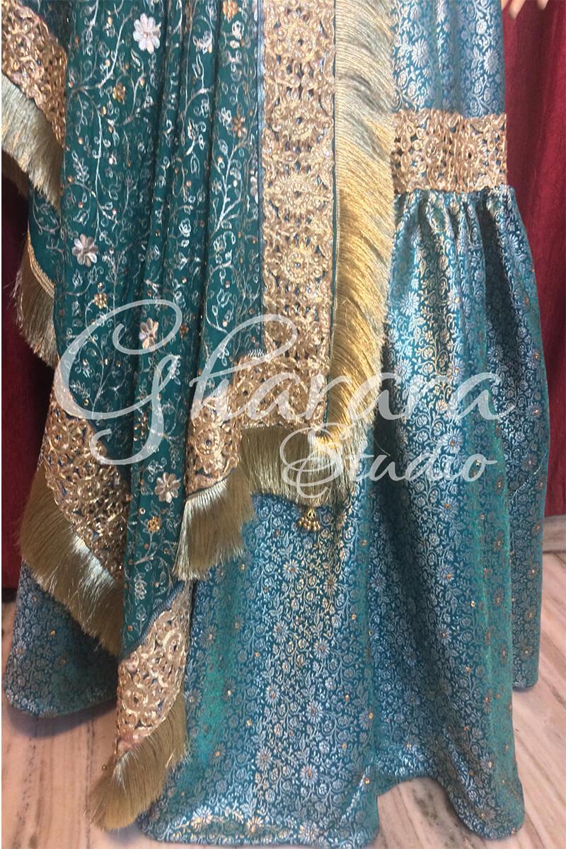 Green Gharara with cutwork lace