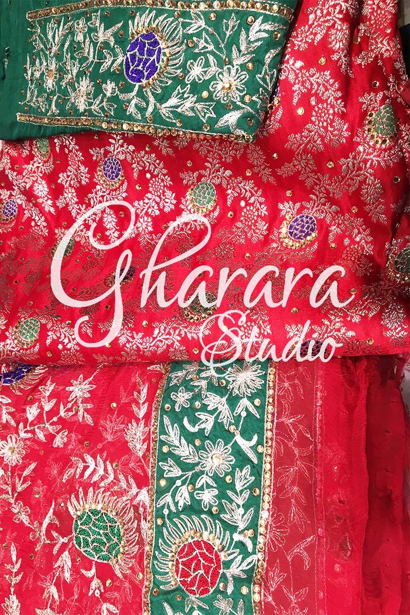 Red Kamkhwab Gharara