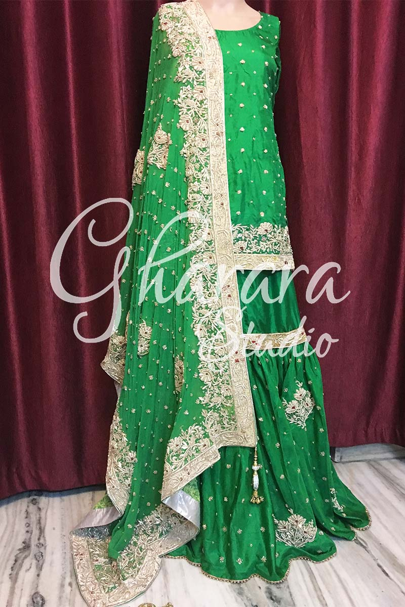 Green Silk Gharara