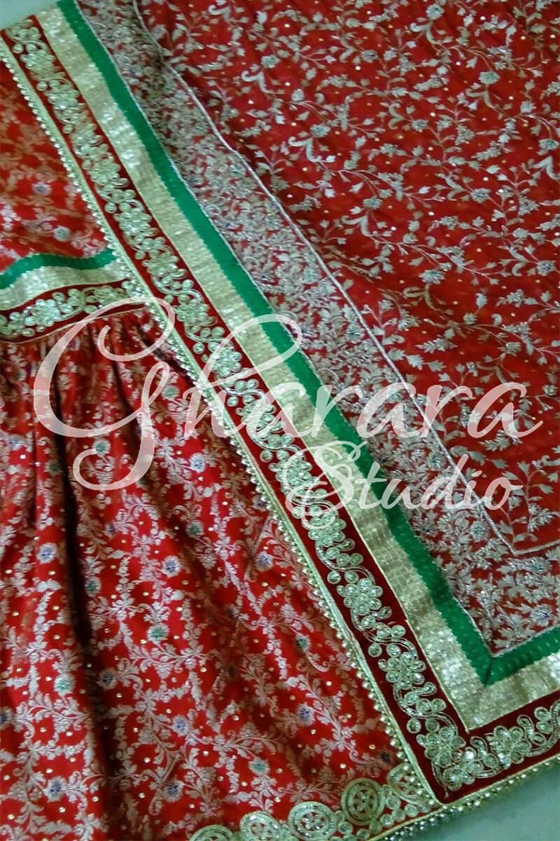 Red Kimkhaab Gharara