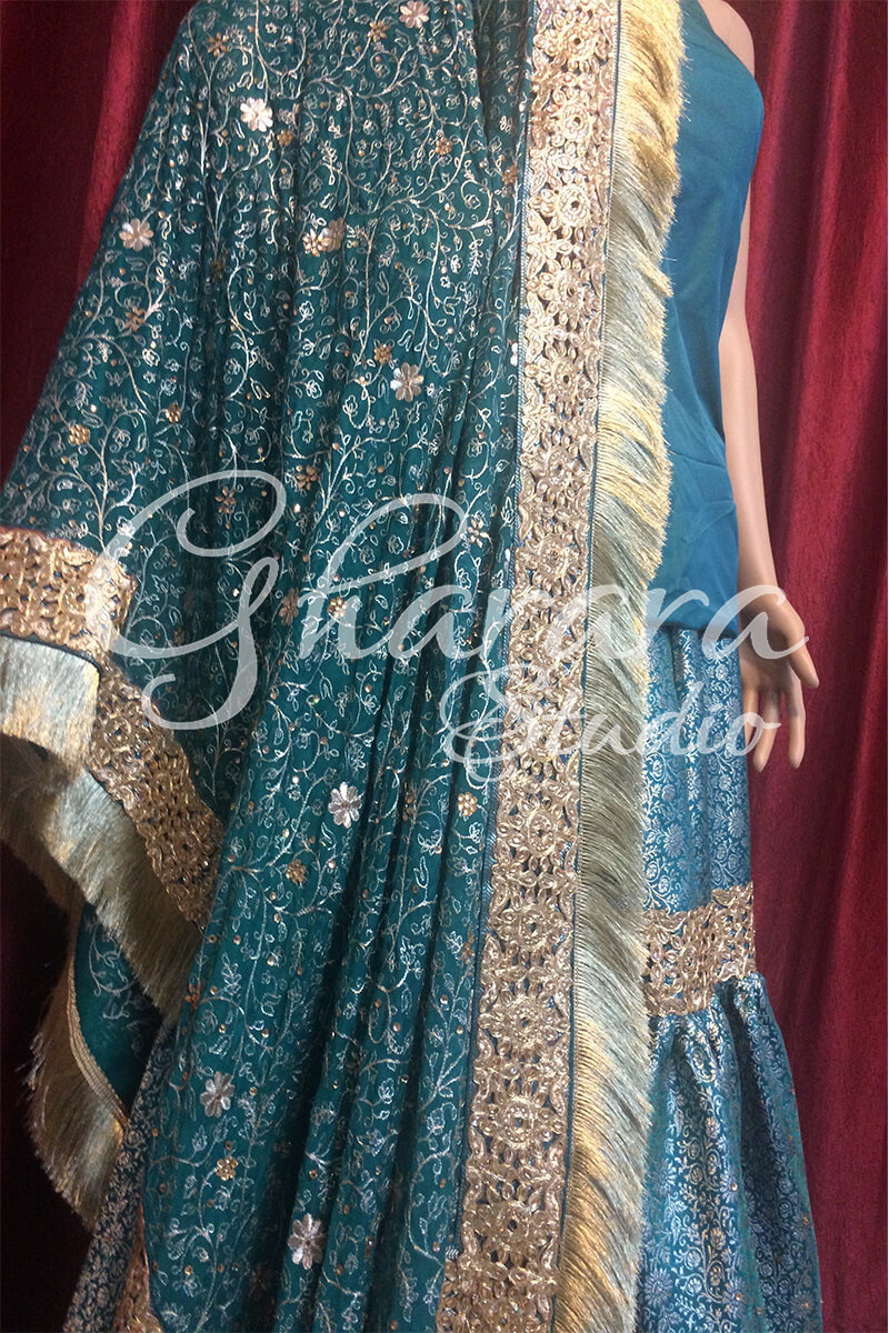 Green Gharara with cutwork lace
