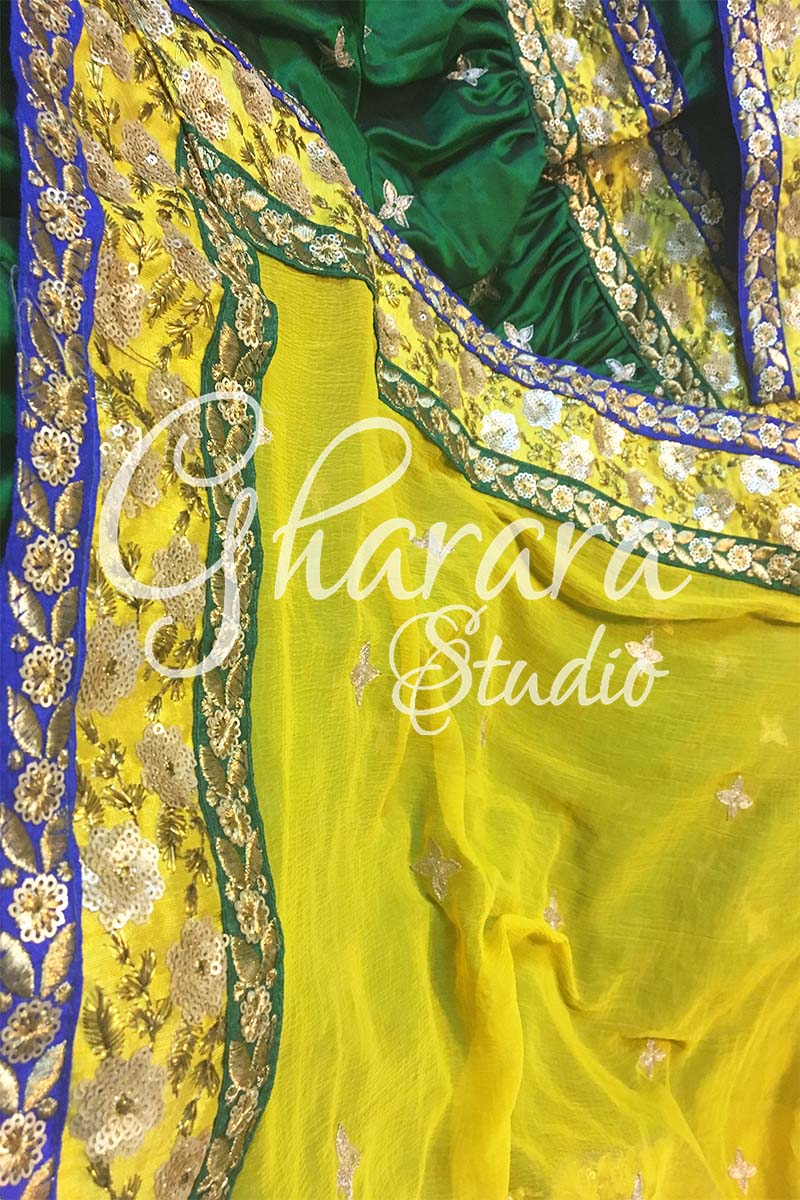 Green Yellow Silk Gharara