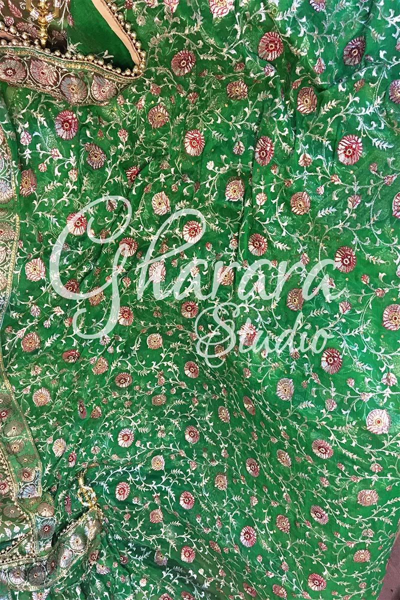Green Kamkhwab Gharara