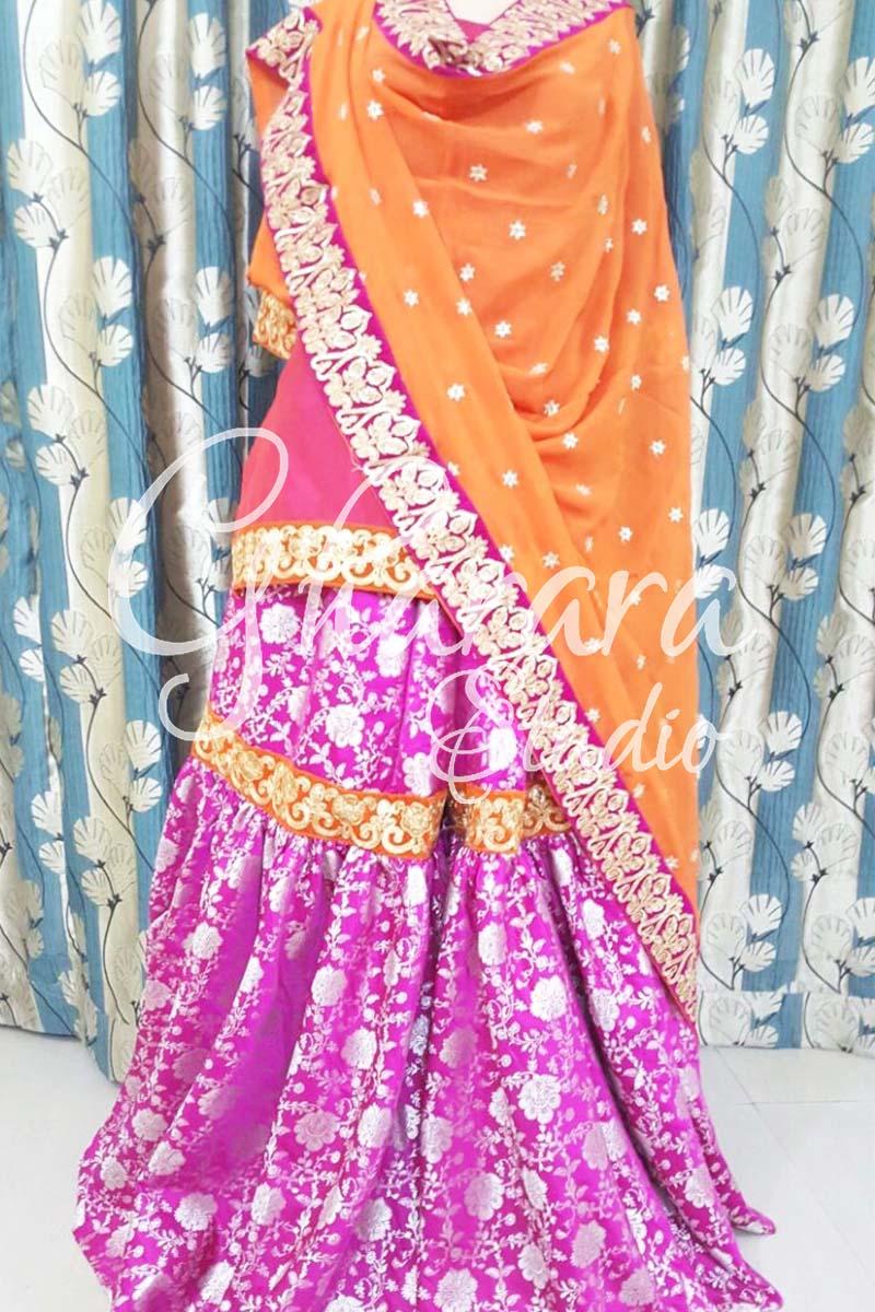 Pink Orange Kamkhwab