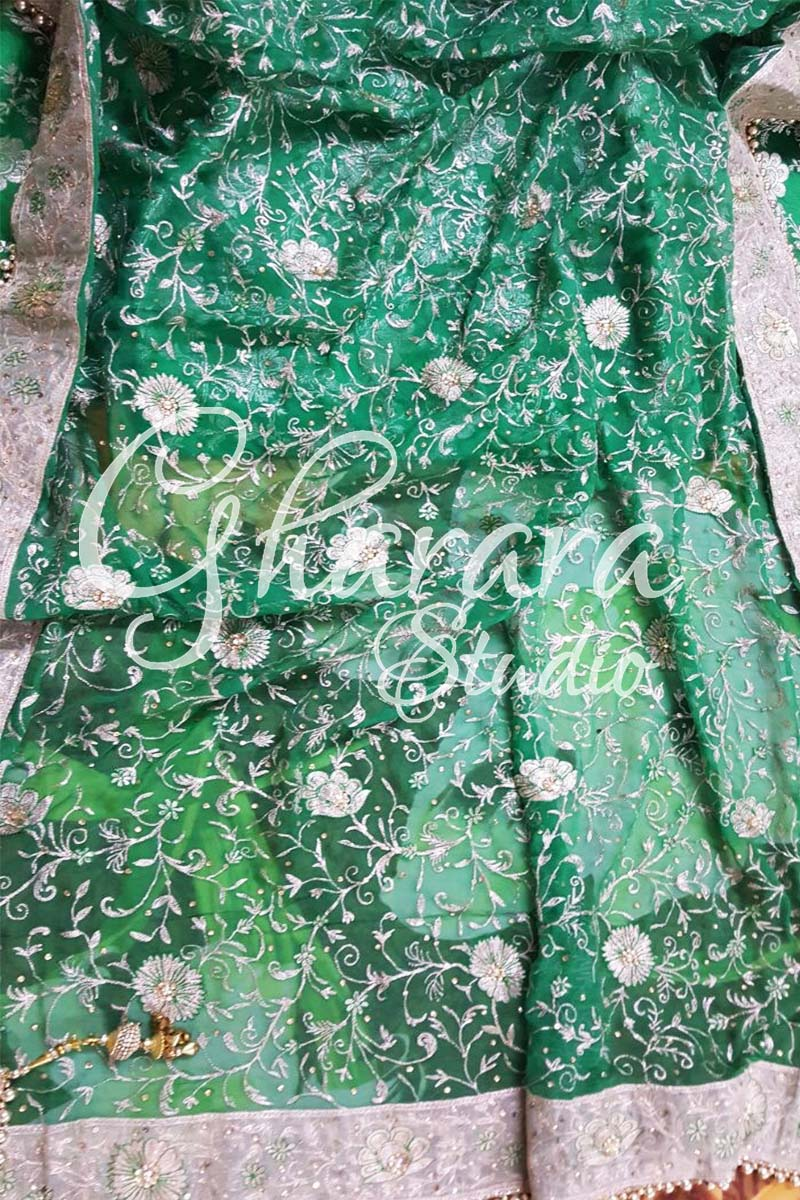Green Kamkhwab Gharara Golden Border