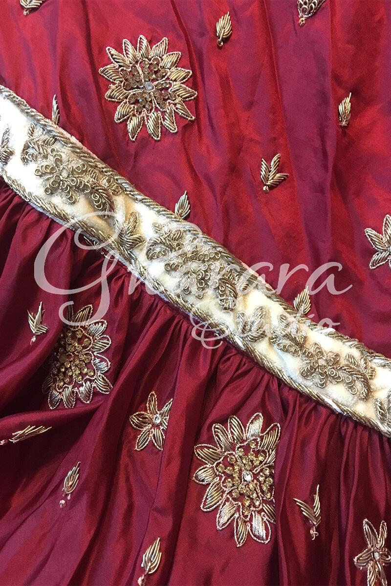 Maroon & Golden Silk Gharara