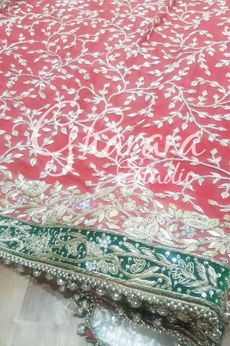 Red Kamkhwab Gharara Dabka
