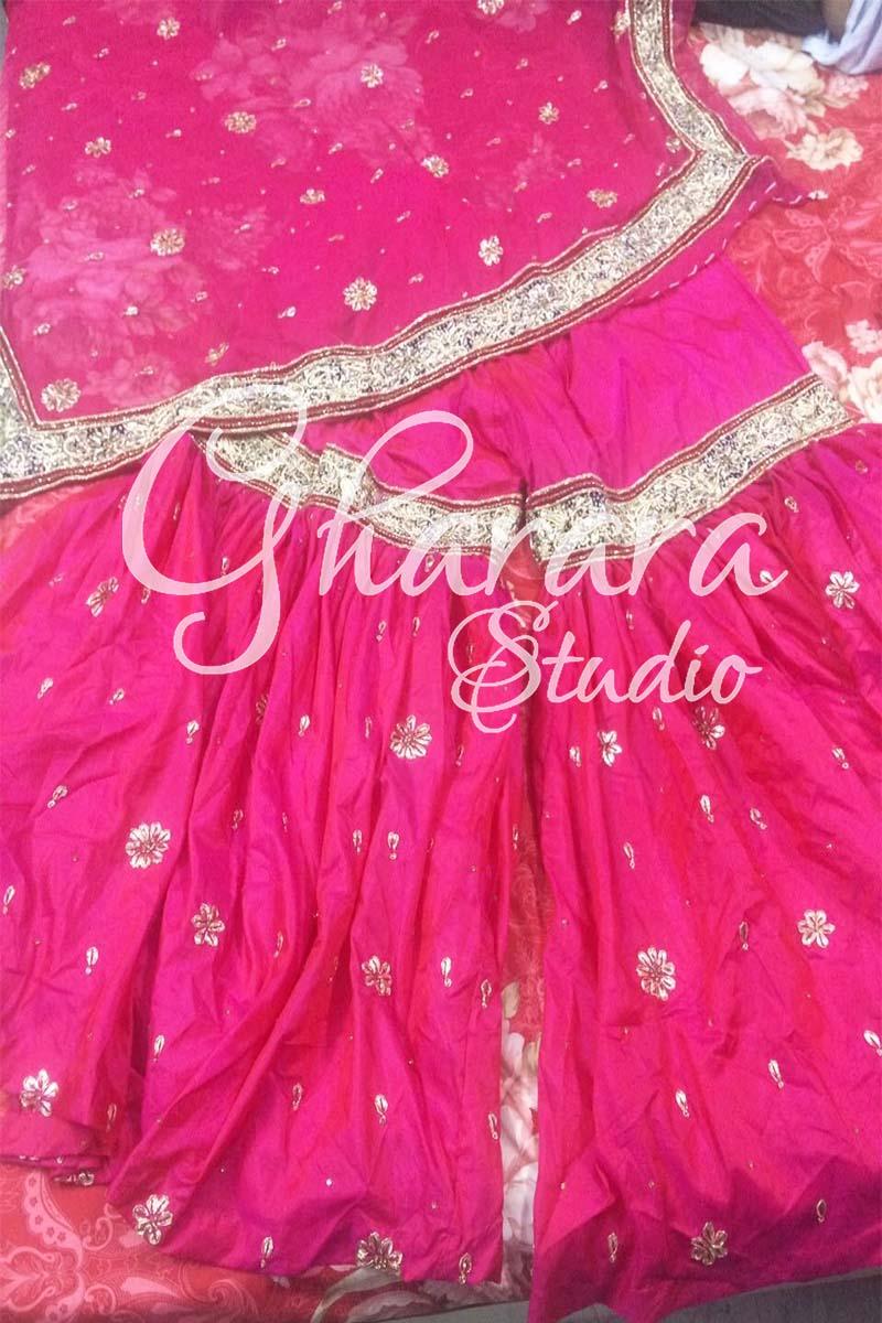 Pink Silk with Zardozi Gota Patti Gharara