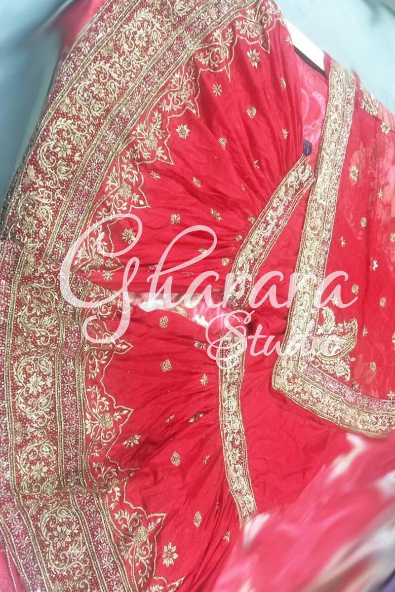 Red Silk Zardozi Gharara