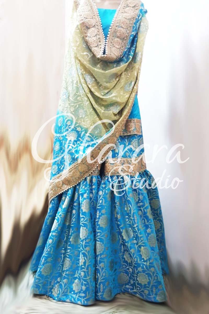 Blue Golden Kamkhwab Gharara