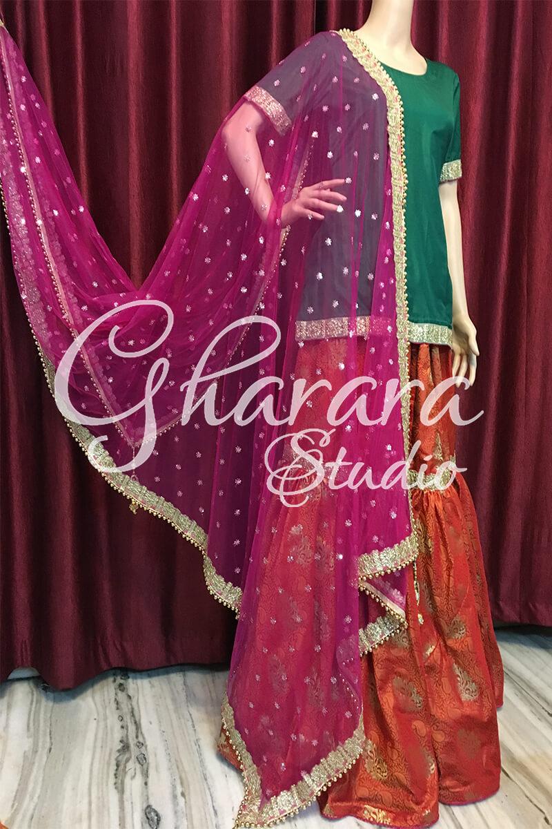 Orange brocade Gharara with Net dupatta