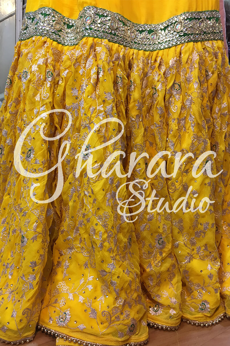 Yellow Green Zari Gharara