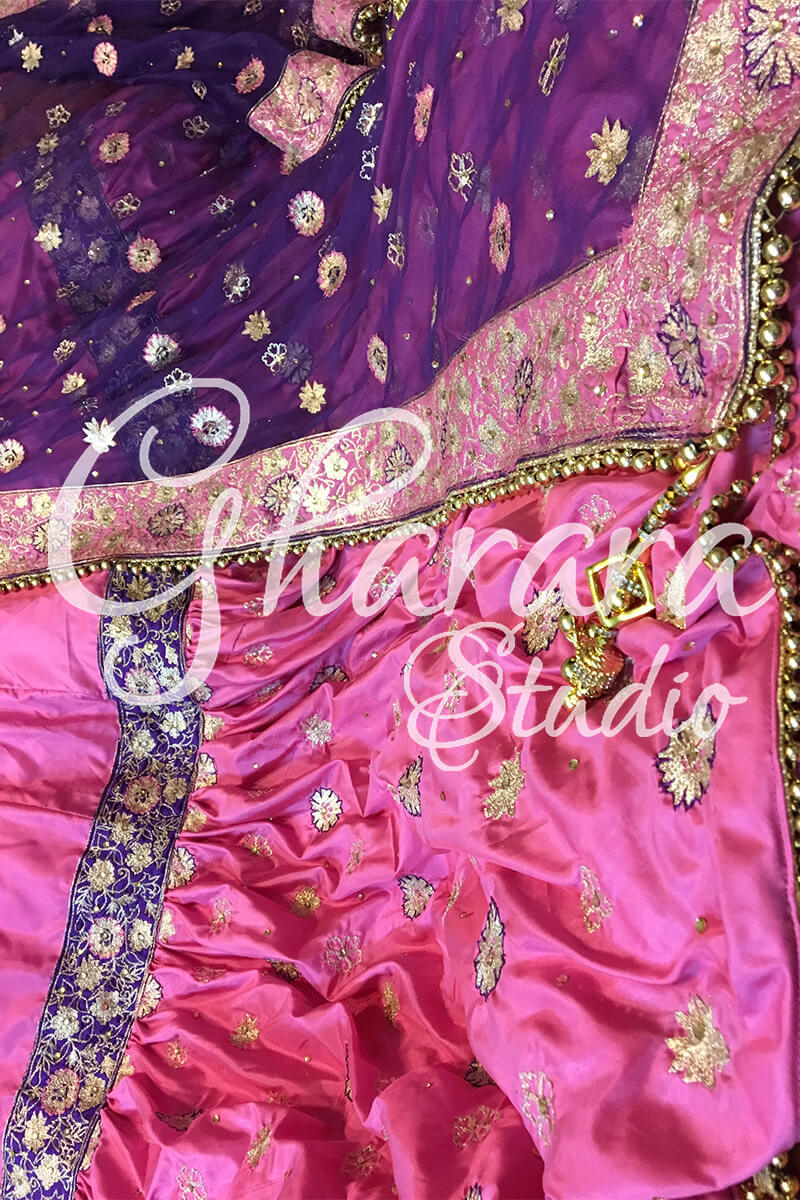 Pink & Purple Silk Gharara