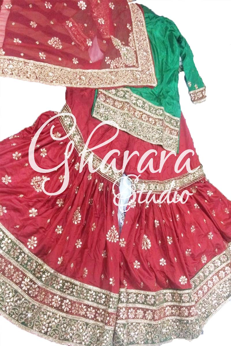 Red Gota Patti Silk Gharara