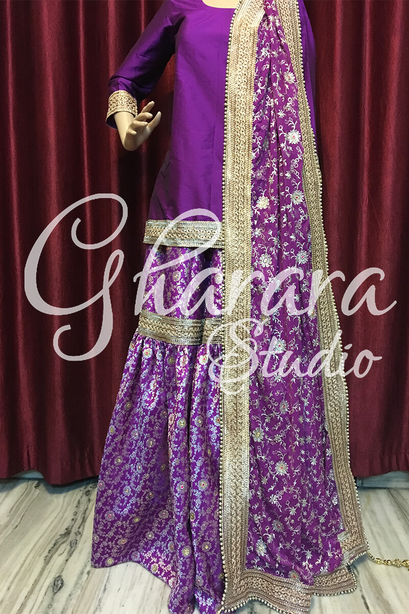 Purple Gharara in Kamkhwab