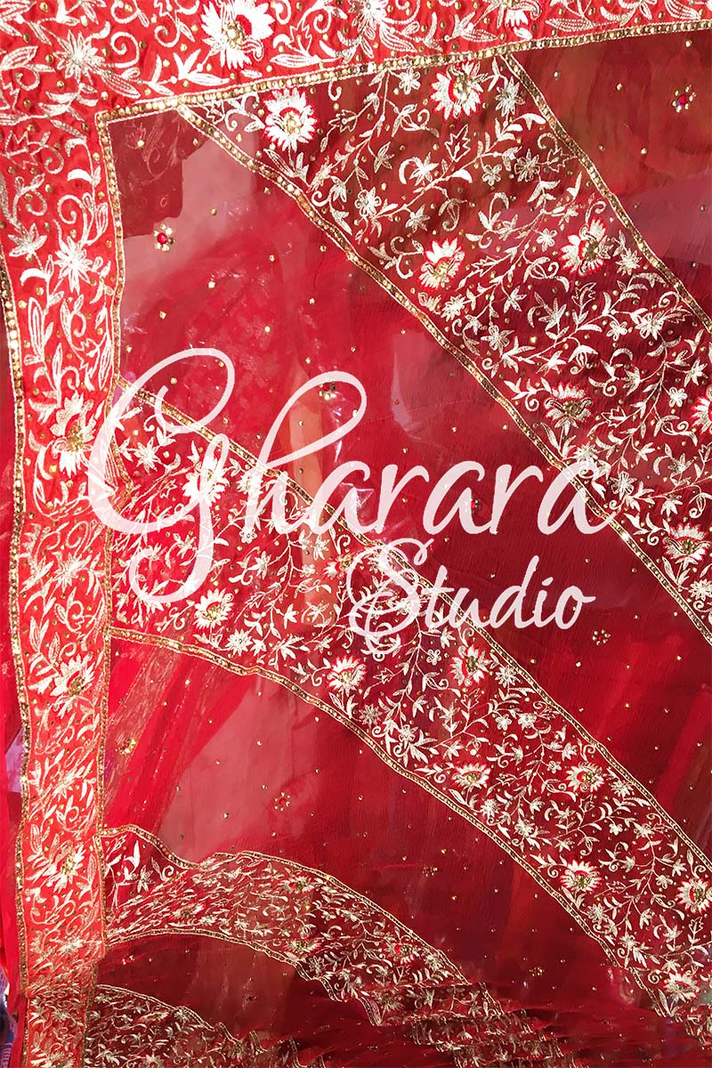 Red Kamkhwab Gharara Zari Dupatta