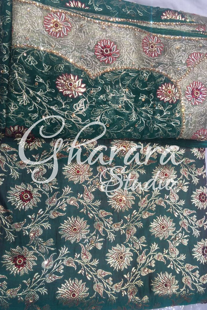 Red Gharara Tissue Border
