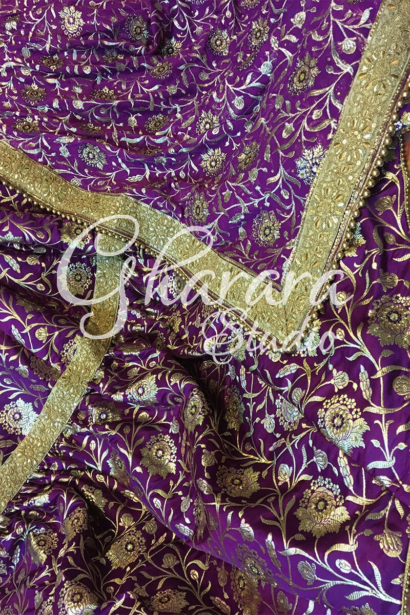 Purple Kamkhwab Gharara