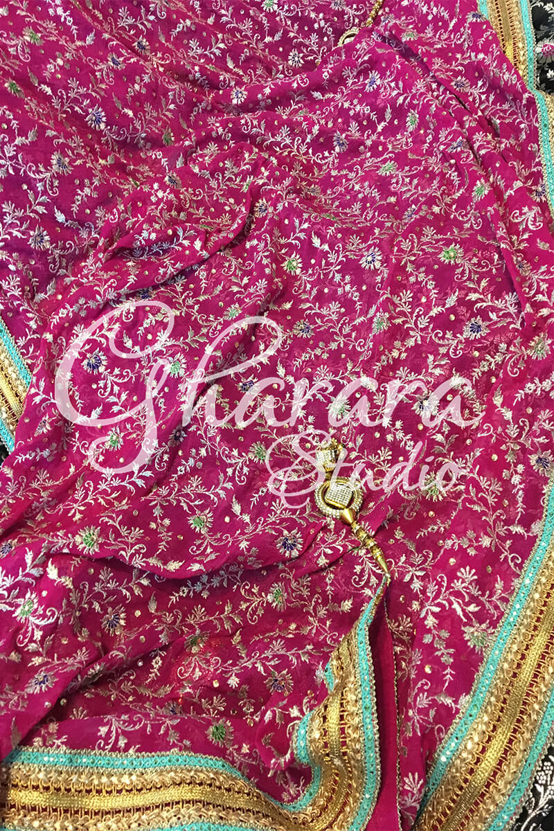 Black Kamkhwab Gharara with Pink