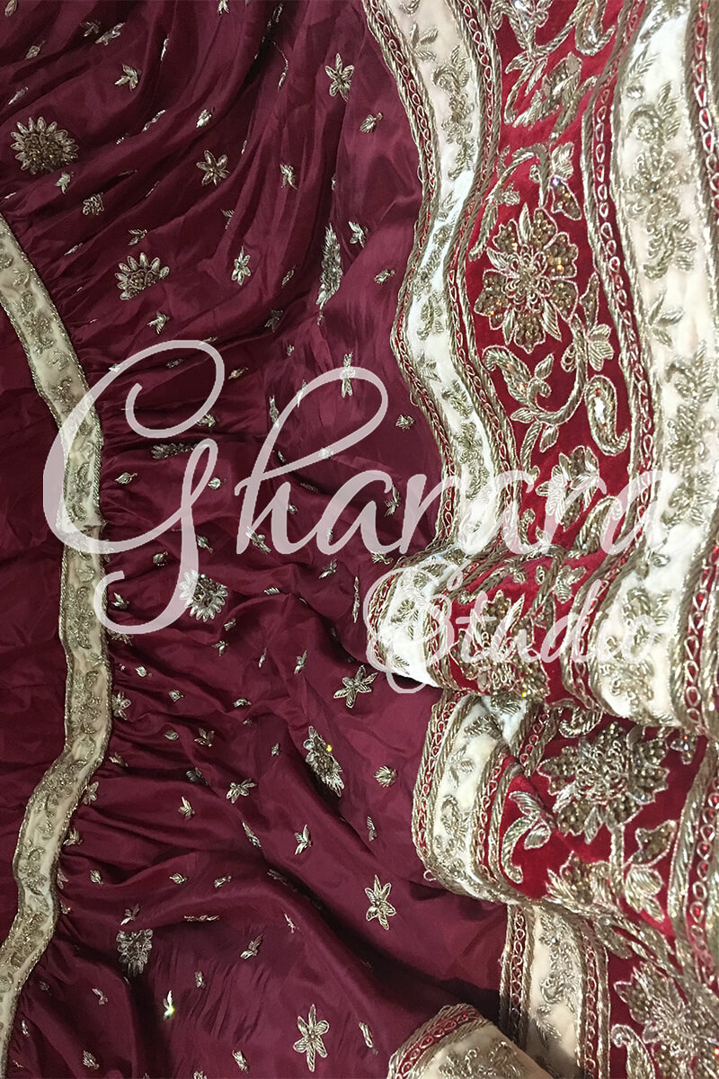 Maroon Gharara in Silk