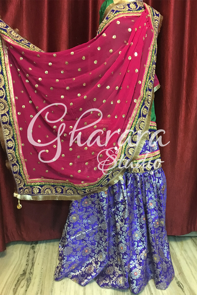 Blue Green & Pink Gharara