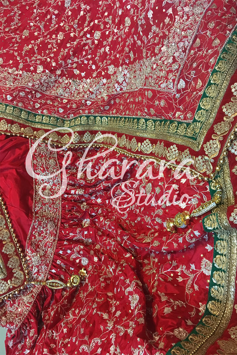 Red Silk Zari-Zardozi Gharara