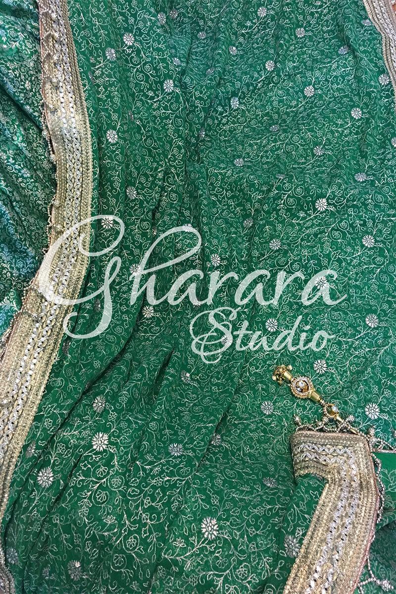 Green Kamkhwab Zari lace