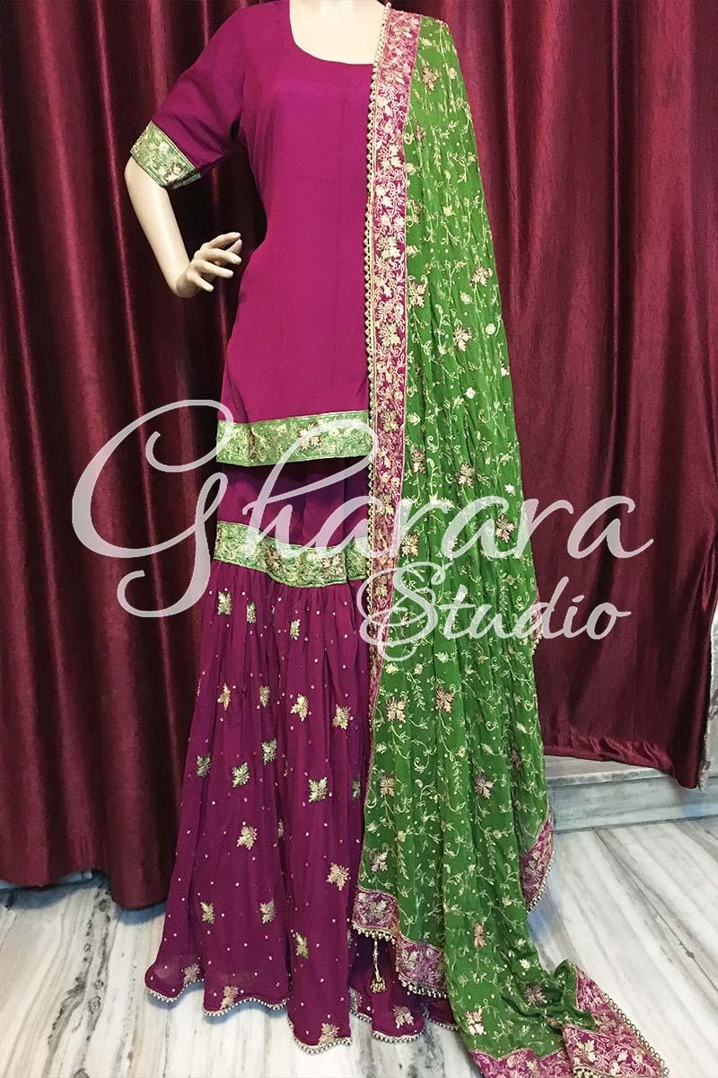 Violet Green Chiffon Gharara