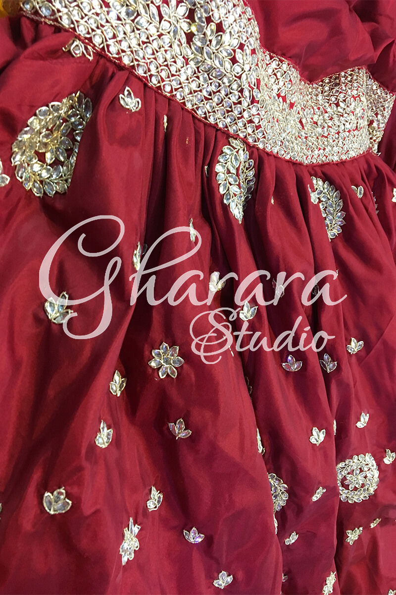Silk Gharara with Zari-Kundan