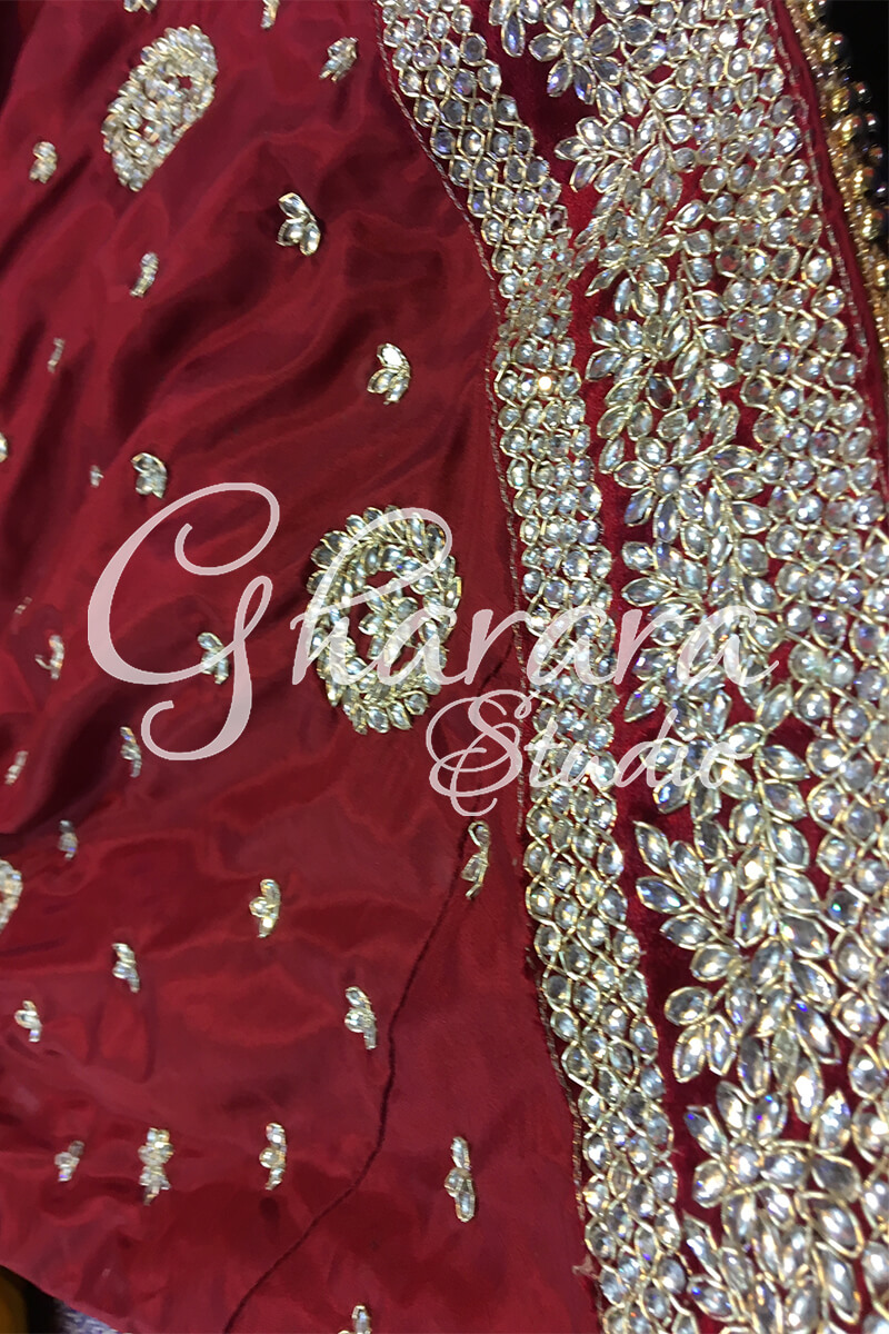 Silk Gharara with Zari-Kundan