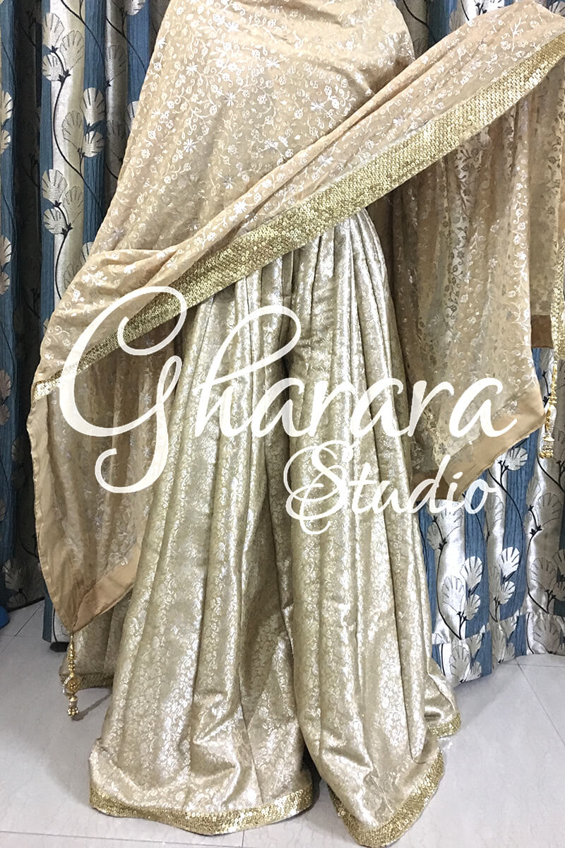 Golden Sharara with Zari Dupatta