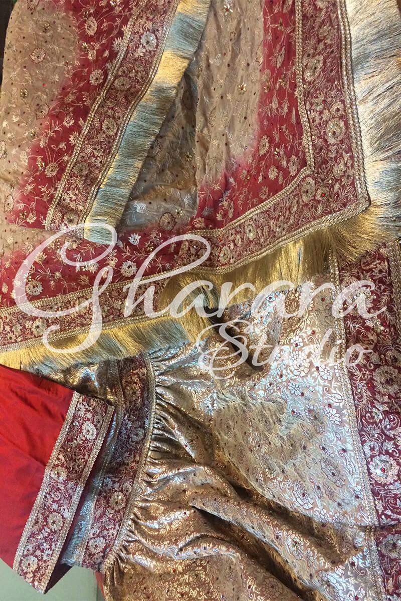 Golden Maroon Gharara